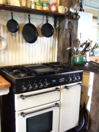 English double oven and gas cooktop